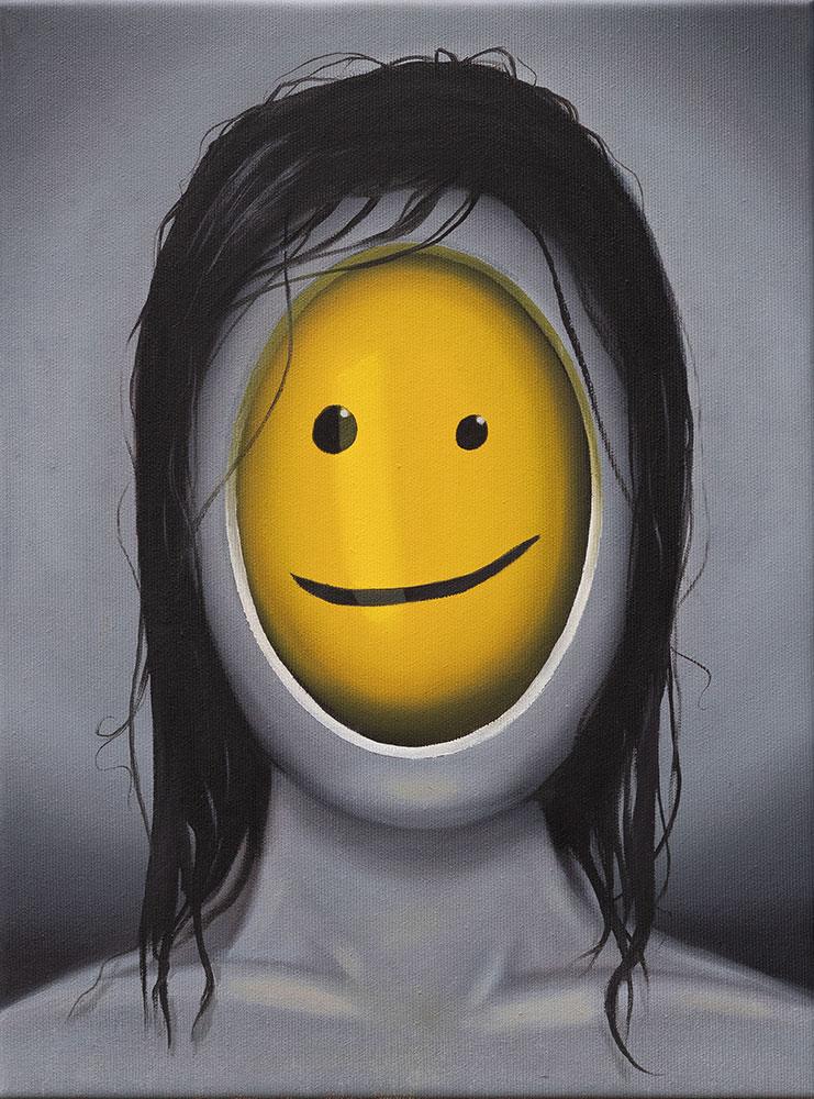 Smiley, 30x40, 2018, Öl auf Leinwand