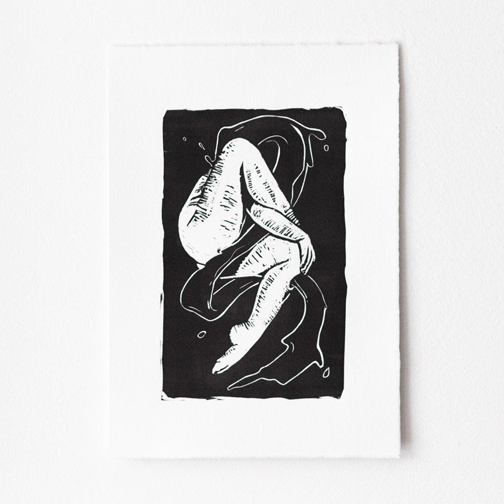 verschlungene Schatten, A4, 2020, Linoldruck auf Büttenpapier