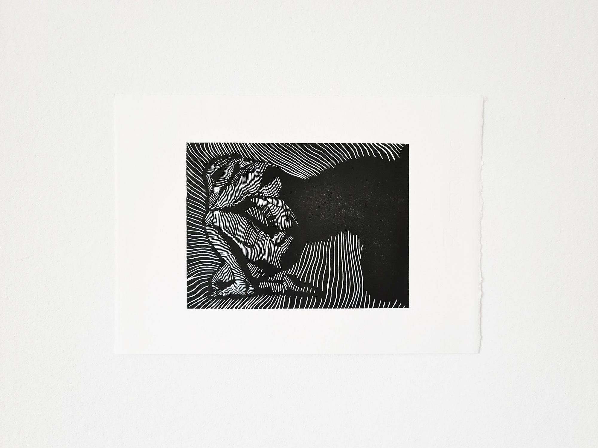 Obsoletus, A4, 2021, Linoldruck auf Büttenpapier